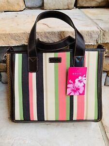 RELIC Satchel Colorful Striped Handbag Detachable Crossbody Strap Straw