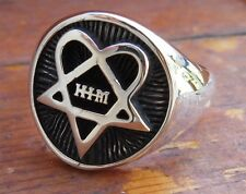 Solid Sterling Silver 925 3D Him Heartagram Ring All Size