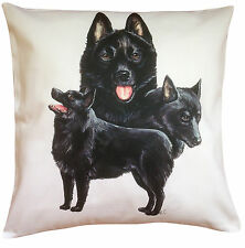 More details for schipperke group breed of dog cotton cushion cover - perfect gift