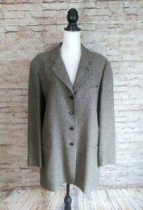 BANANA REPUBLIC Size 14 Herringbone Long Suit Jacket Blazer Wool Silk Rayon