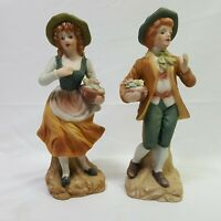 Vintage Ceramic Boy Girl Figurines Carrying Flower baskets 9 Inches Tall