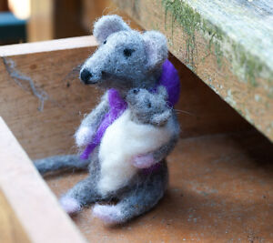 Needle Felted Mouse and Baby - One Of A Kind, Hand Made - now sold, example only