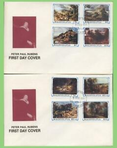 Maldive Islands 1991 Rubens paintings set on two First Day Covers