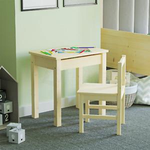 Kids Table Desk Chair Set Lift Lid Storage Solid Pine Wood Workstation Playroom