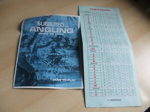 Subbuteo Angling - Fish Weights Card & Instructions How To Play Booklet