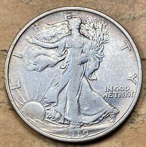 1919-D Walking Liberty Half Dollar  XF/AU