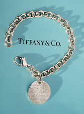 Tiffany & Co Argento Sterling NOTE Fifth Avenue ROUND TAG Bracciale