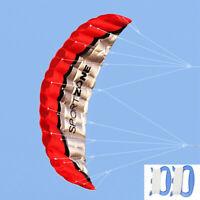 Huge 2.5m Dual Line Parafoil Parachute Stunt Sport Beach Outdoor Toys RED Kite