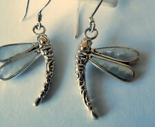 NEW BALI COUTURE SS/18K MOTHER OF PEARL DRAGONFLY FRENCH WIRE DROP EARRINGS