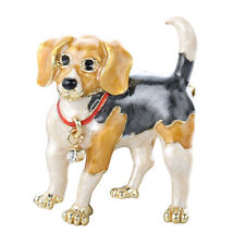 """Gold Tone Hand Painted Puppy Dog """"Beagle"""" Themed Brooch Pin, by JADA Collections"""