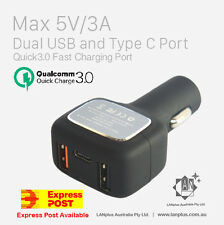Qualcomm Quick Charge QC 3.0 Car Charger USB 3-Port Type C 5V 3A  Fast charging
