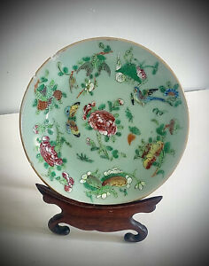 Early 19th Century Chinese Green Celadon Porcelain Plate, Qing Dynasty