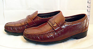 Vintage Florsheim Dark Brown / Tan Size UK 9 to 9.5 Men's Leather Shoes