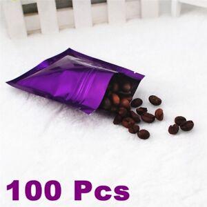100 Pcs Aluminium Foil Stand Up Pouches Zip Lock Zipper Bag Food Grade Packaging