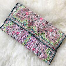 Reclaimed Vintage Hill Tribe Fabric Green Purple Clutch Bag, Boho Hippy Handbag