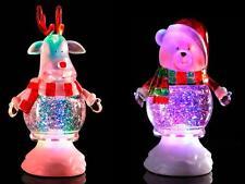 2er Set Rentier Eisbär Weihnachten Glitzer Kuppel Farb Verändernd LED-Licht