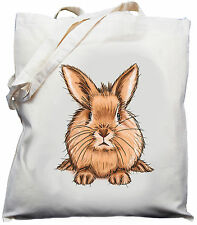 Bunny Rabbit Design - Natural (Cream) Cotton Shoulder Bag / Shopper/ Tote