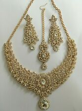 Indian Bollywood White Gold Crystal Jewellery set Necklace Earring and Tikka