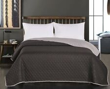 Luxury Black Grey Quilted Bedspread Comforter Throw 260 x 280 cm Super King Size