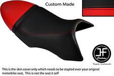 BLACK & RED VINYL CUSTOM FITS BUELL XB 12 SS LIGHTNING LONG DUAL SEAT COVER