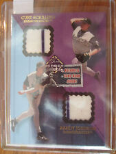 2002 FLEER FLAIR RANDY JOHNSON/CURT SCHILLING DUAL PINSTRIPE JERESY  HEIGHTS