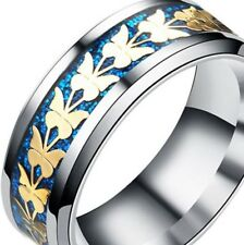 BLUE ~ BUTTERFLY  ~ SIZE:13  ~  S/STEEL ~ RING  -- (GREAT_GIFT)