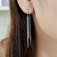 New Genuine 925 Sterling Silver Long Tassels Chain Thread Threader Stud Earrings