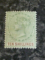 LAGOS POSTAGE STAMP SG41 TEN SHILLINGS GREEN/BROWN 1887-1902 UN-MOUNTED MINT
