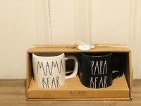 Rae Dunn By Magenta White MAMA BEAR, Black PAPA BEAR Matte Finish Mug, Set of 2