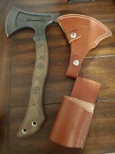 "Tops Hammer Hawk Fixed Axe Knife 6.5"" 1075Hc Steel Blade Green Micarta Handle"