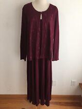 Coldwater Creek Coat Dress Suit Sleeveless Dress & Top-Bottun Blazer Maroon Sz L