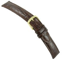 19mm Hadley Roma Brown Genuine Leather Crocodile Grain Mens Watch Band Reg 717