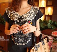 Doll collar lucky tee T shirt Japanese brand top my memory  cute flower blouse