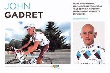 CYCLISME carte cycliste JOHN GADRET équipe AG2R prévoyance 2011