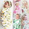 Newborn Infant Baby Floral Swaddle Wrap Swaddling Blanket Sleeping Bag+Headband