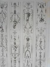Détails motifs annimaux époque LOUIS XIV décoration GRAVURE ADAMS MEUBLE XIXéme