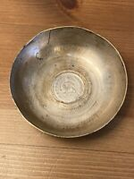 19th Century Antique Persian Silvered Copper Small Bowl Silver Coin Insert