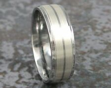 Titanium and Silver Wedding Band Mens Custom Made Ring to ANY Sizing 3-22