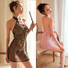 Sexy Mujeres Vestido Cheongsam Qipao Chino Bordado Lencería Vestido Falda Set G-string