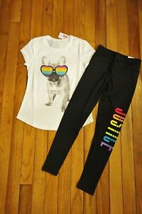 18 Outfit Dog NEW JUSTICE Girls Love Who You Are Shirt /& Leggings Set