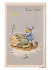 Bonfanti? bambino legna camino slitta cometa cartolina Buon Natale vintage