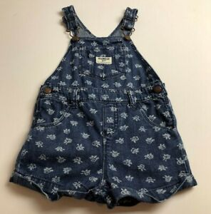 Osh Kosh Baby Girl's 24M Denim Overalls One Piece Blue White Floral Casual