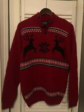 Chaps Deer Ugly Christmas Button Up Sweater Men Size S Red Black Holiday Party