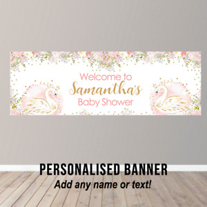 Personalised Swan Baby Shower Banner Party Poster Pink Baby Girl Gold Glitter