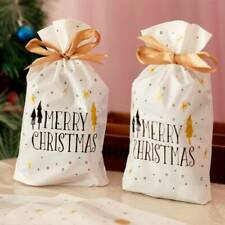 10 pcs Christmas Plastic Gift Bags Cookies Candy Packaging New Year Decoration