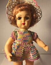 "Vintage 1950s Tiny Terri Lee 10"" Walker Doll w Pink Undies + Socks + Dress"