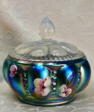 Fenton, Candy Box / Covered Box, Favrene Glass, Hand Decorated.