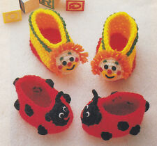 Crochet Pattern ~ Baby Booties LADYBUG & CLOWN ~ Instructions