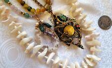 "Statement Necklace Set 3 Turquoise SeaShells & Gemstones Bead Strands 18"" - 25""L"