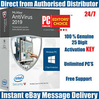 McAfee Antivirus 2019 Unlimited PC's for 1 Year KEY Instant eBay Message